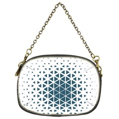 Business Blue Triangular Pattern Chain Purse (one Side)