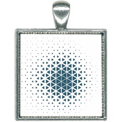 Business Blue Triangular Pattern Square Necklace