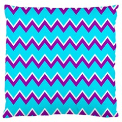Chevron Pattern Background Blue Large Cushion Case (one Side) by Jojostore