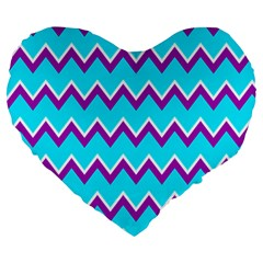 Chevron Pattern Background Blue Large 19  Premium Flano Heart Shape Cushions