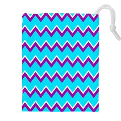 Chevron Pattern Background Blue Drawstring Pouch (xxl)