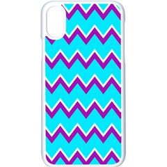 Chevron Pattern Background Blue Apple Iphone Xs Seamless Case (white) by Jojostore
