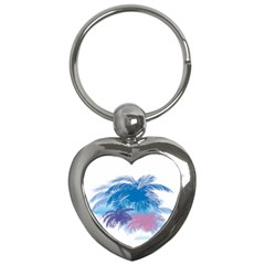 Coconut Tree Background Key Chains (heart)