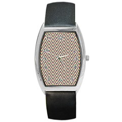 Chevron Retro Pattern Vintage Barrel Style Metal Watch