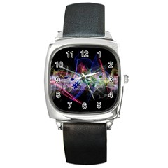 Brush Particles Music Clef Wave Square Metal Watch