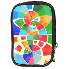 Circle Background Compact Camera Leather Case by AnjaniArt