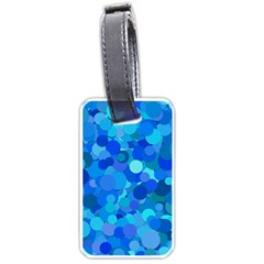 Blue Light Cyan Background Dot Luggage Tags (two Sides) by AnjaniArt