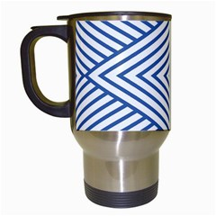 Directional Lines Stripes Movement Travel Mugs (white) by AnjaniArt