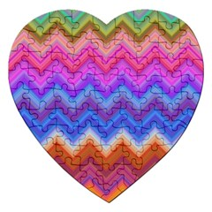 Chevron Zigzag Background Jigsaw Puzzle (heart) by AnjaniArt
