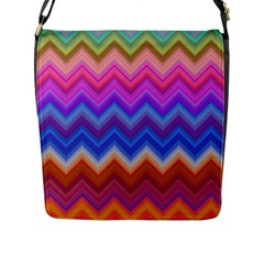 Chevron Zigzag Background Flap Closure Messenger Bag (l)
