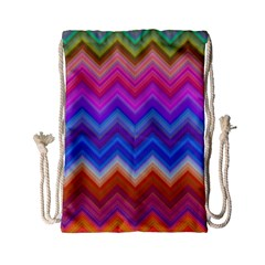 Chevron Zigzag Background Drawstring Bag (small) by AnjaniArt