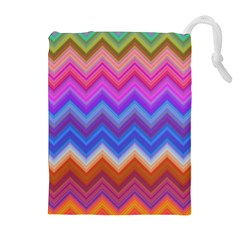 Chevron Zigzag Background Drawstring Pouch (xl) by AnjaniArt