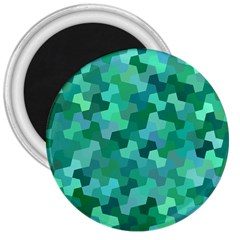 Green Mosaic Geometric Background 3  Magnets