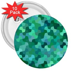 Green Mosaic Geometric Background 3  Buttons (10 Pack)  by AnjaniArt