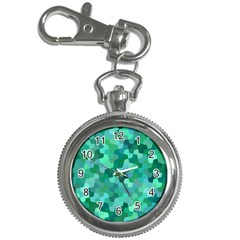 Green Mosaic Geometric Background Key Chain Watches by AnjaniArt