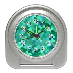 Green Mosaic Geometric Background Travel Alarm Clock by AnjaniArt