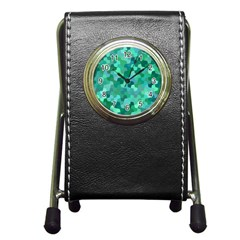 Green Mosaic Geometric Background Pen Holder Desk Clock by AnjaniArt