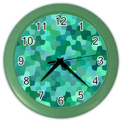 Green Mosaic Geometric Background Color Wall Clock