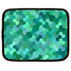 Green Mosaic Geometric Background Netbook Case (xxl) by AnjaniArt