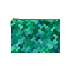 Green Mosaic Geometric Background Cosmetic Bag (medium) by AnjaniArt