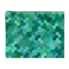 Green Mosaic Geometric Background Cosmetic Bag (xl) by AnjaniArt