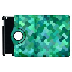 Green Mosaic Geometric Background Apple Ipad 3/4 Flip 360 Case by AnjaniArt