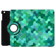 Green Mosaic Geometric Background Apple Ipad Mini Flip 360 Case by AnjaniArt