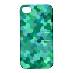 Green Mosaic Geometric Background Apple Iphone 4/4s Hardshell Case With Stand