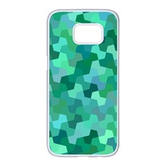 Green Mosaic Geometric Background Samsung Galaxy S7 Edge White Seamless Case by AnjaniArt
