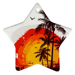 Coconut Tree Star Ornament (two Sides)