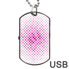 Dot Pattern Circle Pink Dog Tag Usb Flash (two Sides) by Jojostore