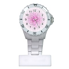 Dot Pattern Circle Pink Plastic Nurses Watch by Jojostore