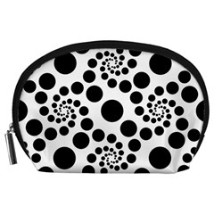 Dots Round Black And White Accessory Pouch (large)