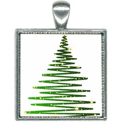 Christmas Tree Spruce Square Necklace