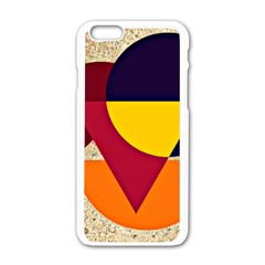 Circle Half Circle Colorful Apple Iphone 6/6s White Enamel Case by Mariart