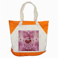 Cute Little Girl With Heart Accent Tote Bag