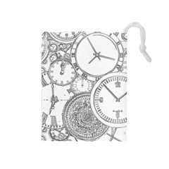 Time Goes On Drawstring Pouch (medium)