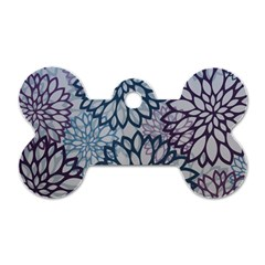 Modern Floral Pop Dog Tag Bone (one Side)