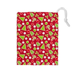 Christmas Paper Scrapbooking Pattern Drawstring Pouch (large)