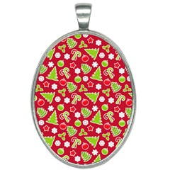 Christmas Paper Scrapbooking Pattern Oval Necklace by Mariart