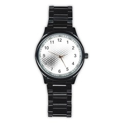 Geometric Abstraction Pattern Stainless Steel Round Watch