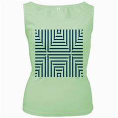 Geometric Shapes Stripes Blue Women s Green Tank Top