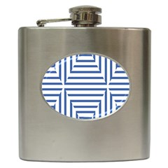 Geometric Shapes Stripes Blue Hip Flask (6 Oz) by Mariart