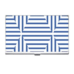 Geometric Shapes Stripes Blue Business Card Holder