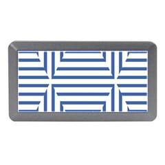 Geometric Shapes Stripes Blue Memory Card Reader (mini) by Mariart