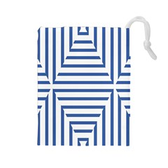 Geometric Shapes Stripes Blue Drawstring Pouch (large)