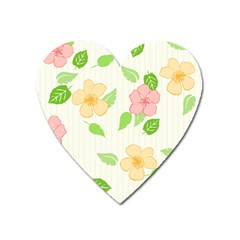 Flowers Leaf Stripe Pattern Heart Magnet by Mariart