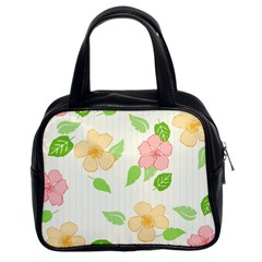 Flowers Leaf Stripe Pattern Classic Handbag (two Sides) by Mariart