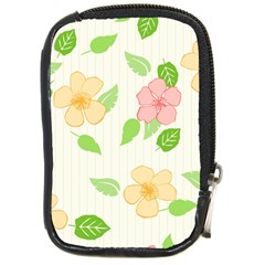 Flowers Leaf Stripe Pattern Compact Camera Leather Case by Mariart