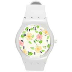 Flowers Leaf Stripe Pattern Round Plastic Sport Watch (m) by Mariart